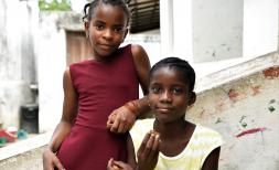 Elina* and Faria* at the child friendly space, Mozambique (Capo Delgado)