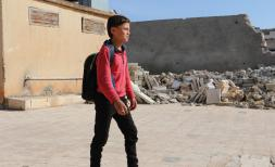 Ziad*, 10, going to school in rural Aleppo, North West Syria