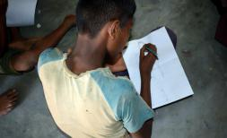 Rohingya refugee children take part in a collaboration between Save the Children and Artolution