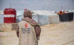 A Save the Children worker in Al Hol camp